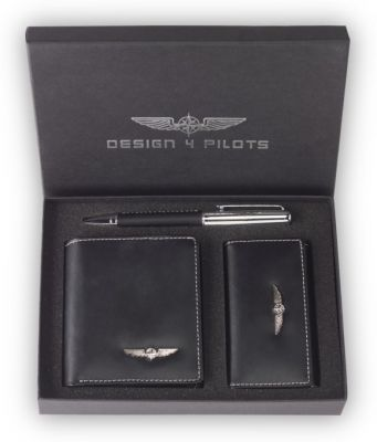 Pilot Wallet Set aus Leder