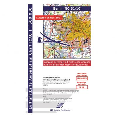 ICAO-Karte, Blatt Berlin (Ausgabe 2021, Segelflug 1:500.000 (Vorbestellung)