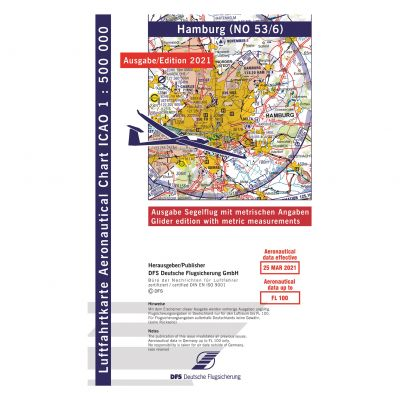 ICAO-Karte, Blatt Hamburg (Ausgabe 2021), Segelflug 1:500.000 (Vorbestellung)
