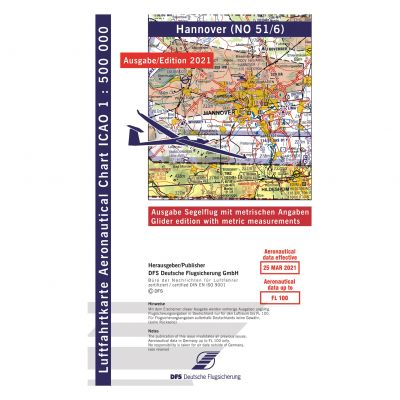 ICAO-Karte, Blatt Hannover (Ausgabe 2021), Segelflug 1:500.000 (Vorbestellung)