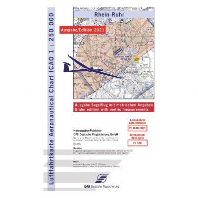 ICAO-Karte, Blatt Rhein-Ruhr (Ausgabe 2021), Segelflug 1:250.000 (Vorbestellung)