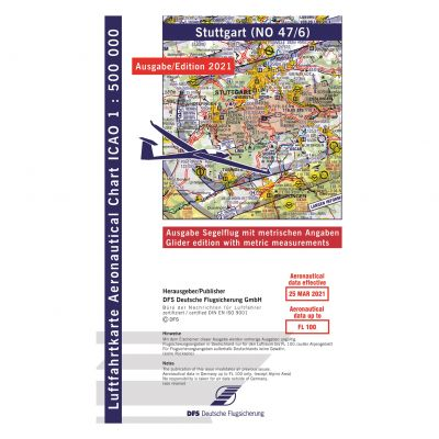 ICAO-Karte, Blatt Stuttgart (Ausgabe 2021), Segelflug 1:500.000 (Vorbestellung)