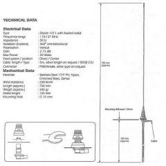 SIRIO Flugfunkantenne Aviator MD 118-137 MHz für Kunststoffmontage